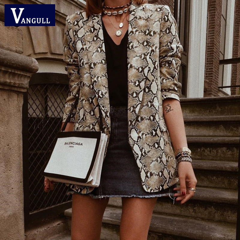 Vangull Women Basic Jacket England Style Snake Print Jackets 2019 Pockets Notched Collar Long Sleeve Coat Female Outerwear Coat
