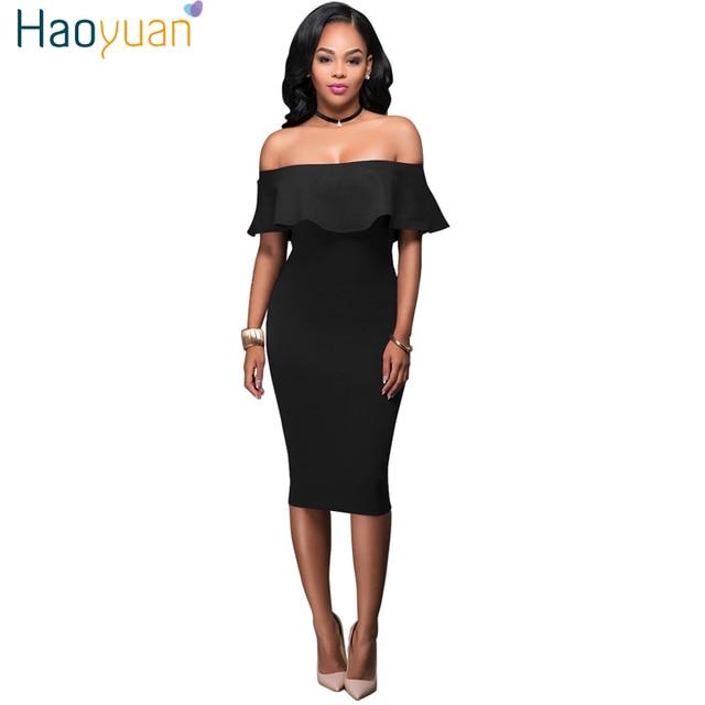 6cf4a2526e6 US $11.39 40% OFF|HAOYUAN Women Off Shoulder Summer Beach Dress 2019  Vintage Ruffle Blue Black Boho Bodycon Dress Sexy Club Party Wrap  Dresses-in ...