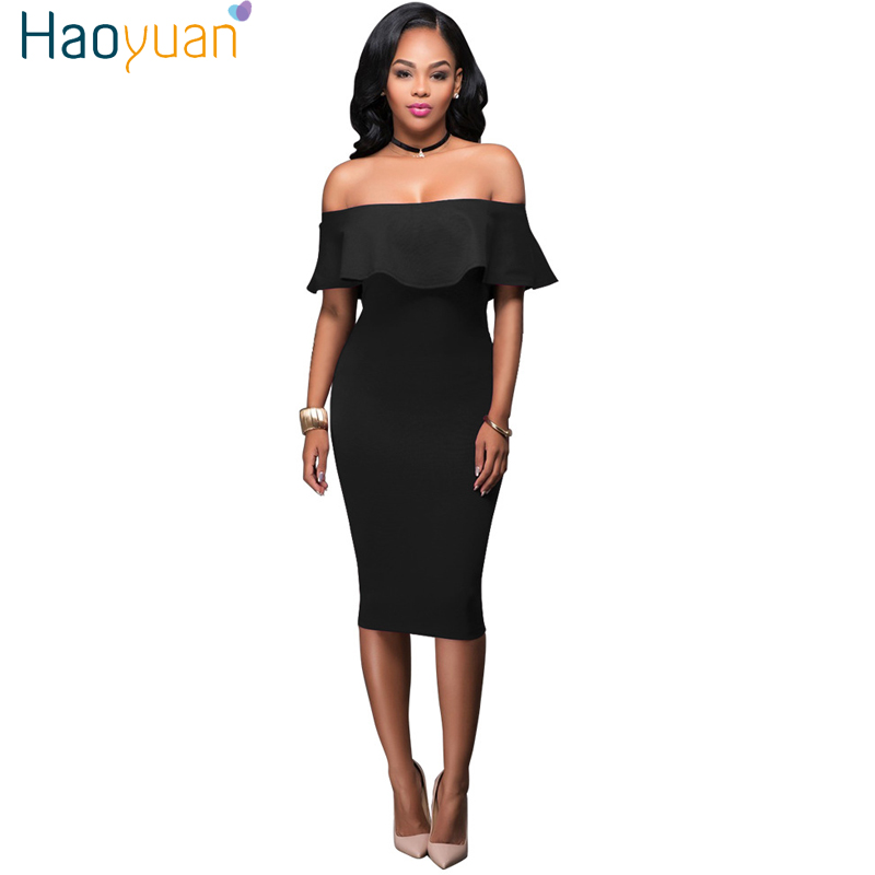 HAOYUAN Women Off Shoulder Summer Beach <font><b>Dress</b></font> 2019 Vintage Ruffle <font><b>Blue</b></font> Black Boho <font><b>Bodycon</b></font> <font><b>Dress</b></font> <font><b>Sexy</b></font> Club Party Wrap <font><b>Dresses</b></font> image