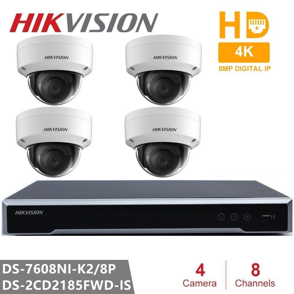 Hikvision H.265 Kits de Surveillance vidéo caméra IP 4 pièces 8MP caméra IP + Plug & Play intégré 4K NVR 8CH 8POE 2SATA 8MP résolution