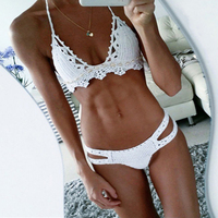 Sexy Handmade Crochet Bikinis Set 2018 New Shell Cup Biquinis Low Rise Biquinis Set Women Push