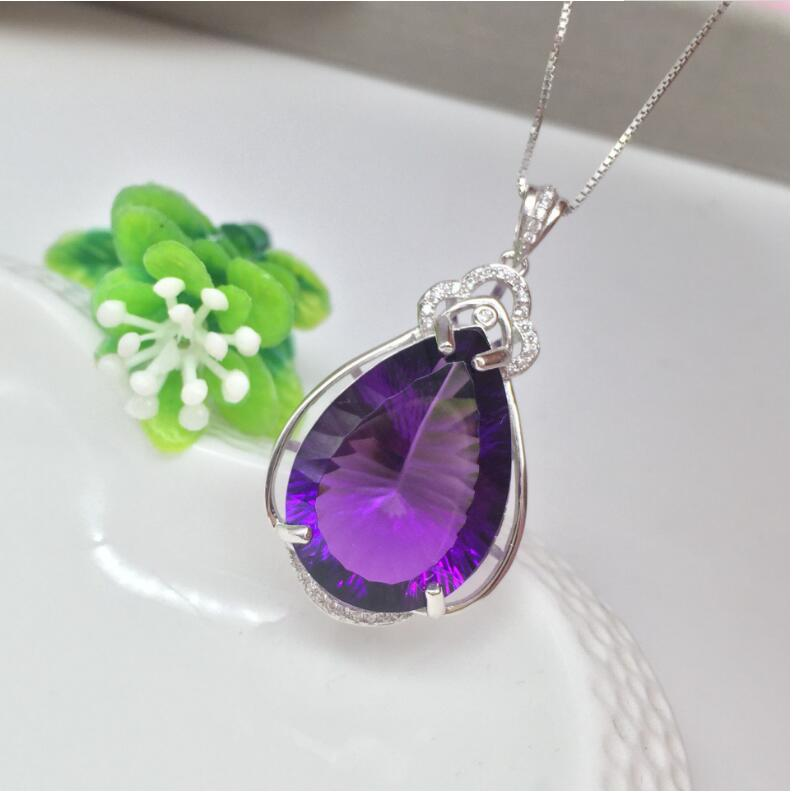 Amethyst pendant Free shipping Necklace pendant Natural amethyst pendants 925 sterling silver Gem Size 18/25mm цена и фото