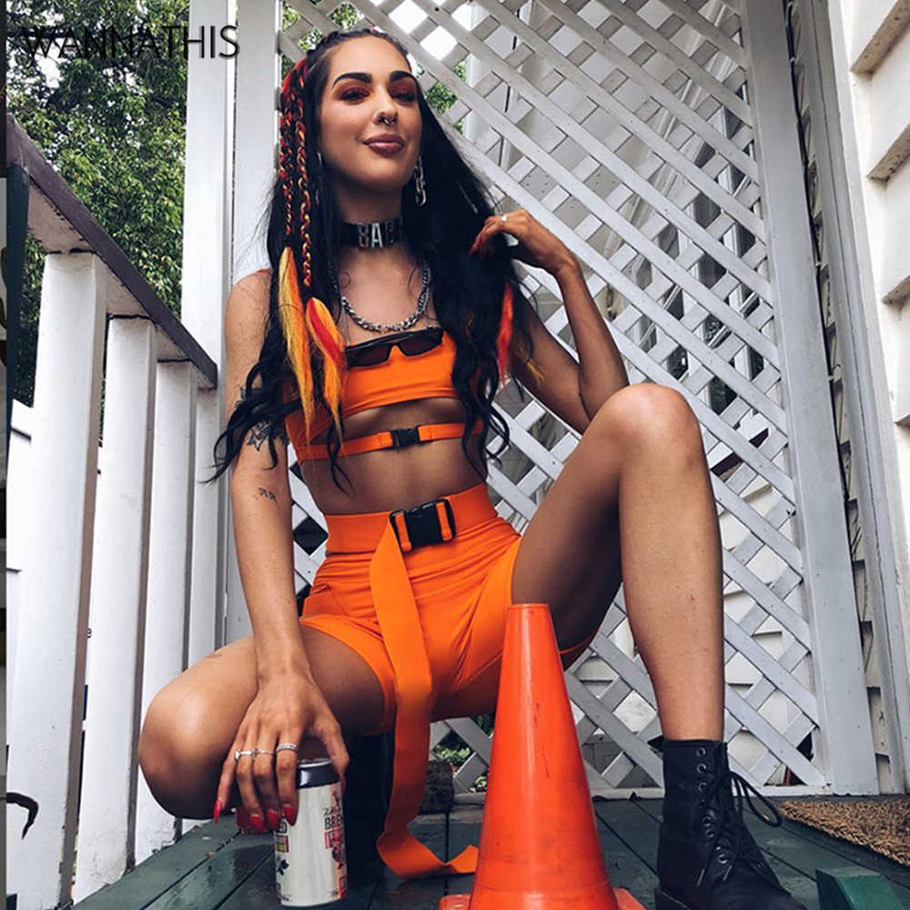 2 Piece Sets Women Crop Tops and Shorts Buckle Sexy Club Sleeveless Bodycon Festival Summer Hollow Out Party Female Clothing