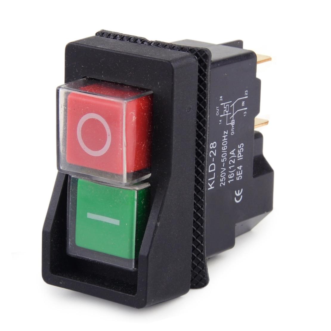 250V IP55 KJD17 KLD28 4 Pin Start Stop On Off Volt Release Switch Fit For Workshop Machines