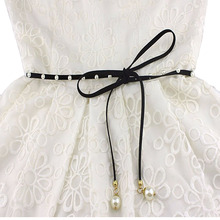 Girls Long BLUE Leather Dress Belt Woman Female BLACK Tassels Necklace bracelet Cute Pearl Strap Belt