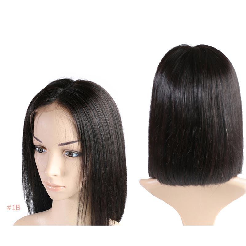 Ali Queen 13x4/13x6 Lace Front perruques 10A 150%/180%/200% densité brésilienne droite Remy cheveux naturel noir court Bob perruques - 2