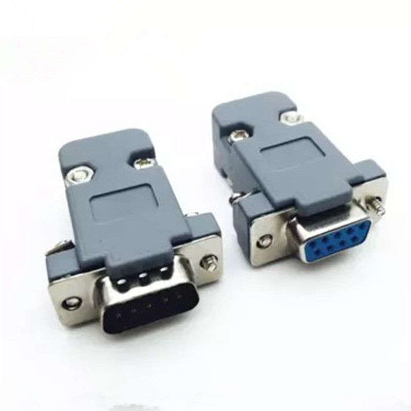 10 Set RS232 serial port connector DB9 female socket Plug connector 9 Pin copper RS232 COM adapter with Plastic Case DIY