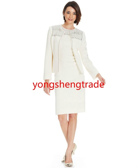 New Arrival Ivory Open-Front Studded Crepe Jacket & Studded Crepe Sheath  Dress Collarless Open Front Full Lined 738