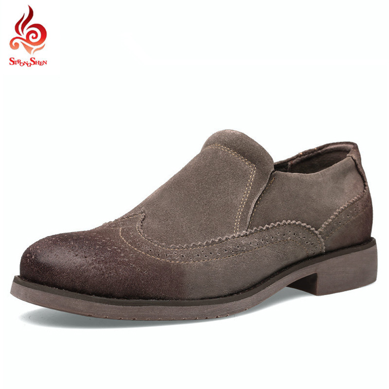 ФОТО New 2017 Men Shoes Male Shoes Casual Cow Suede Big Size 38-45 Brogue Retro Lazy Slip-on Black Gray Low Heels Rubber Sole B1519
