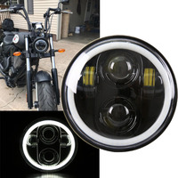 Black 5.75 Motorcycle Headlight LED Projection Lamp With Angel Ring 12V For Harley Sportster Cafe Racer Bobber Iron 883 Dyna