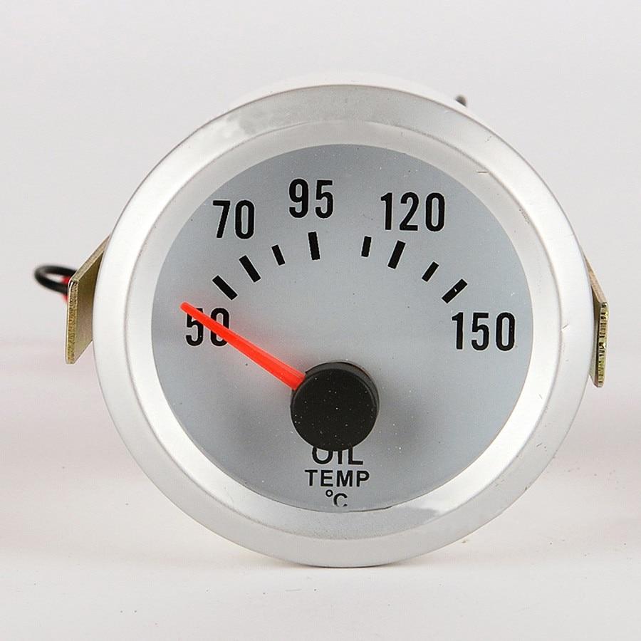 Universal 12V Car Motorcycle Oil Temperature Gauge With Sensor 52MM Oil Temp Meter Blue LED Light
