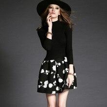 Для женщин вечерние линия платье женские офисные черный вязаный пэчворк цветочный узор линии платье три четверти рукав Империя платье