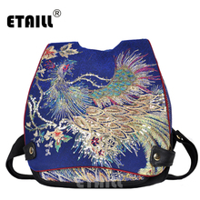 ETAILL High Quality Sequins Phoenix Ethnic Backpack Embroidered Floral Canvas Backpacks for Women Large Flap Back Bag Rucksack