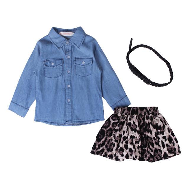 2016 summer new kids dress denim ropa + tutu leopardo camisa para bebés y niños pequeños trajes de los niños arropa conjunto con la correa