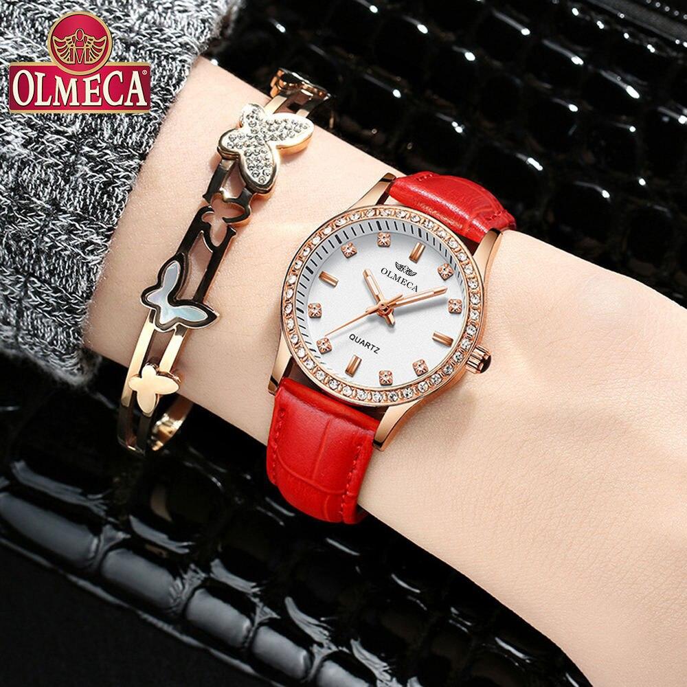 OLMECA Marca Relógios das Mulheres Moda Relógio De Pulso Das Mulheres Relógios Senhoras Relógio Relógio de Couro Mujer Bayan Kol Saati Montre Feminino