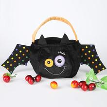Halloween Bat Spider Velvet Candy Bag Kids Party Gifts Container Holida