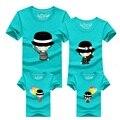 Madre hija trajes formales Lindo sombrero globo Camisetas Ropa de Juego de La Familia Padre Madre Hijo Hija camisas cortas DC60