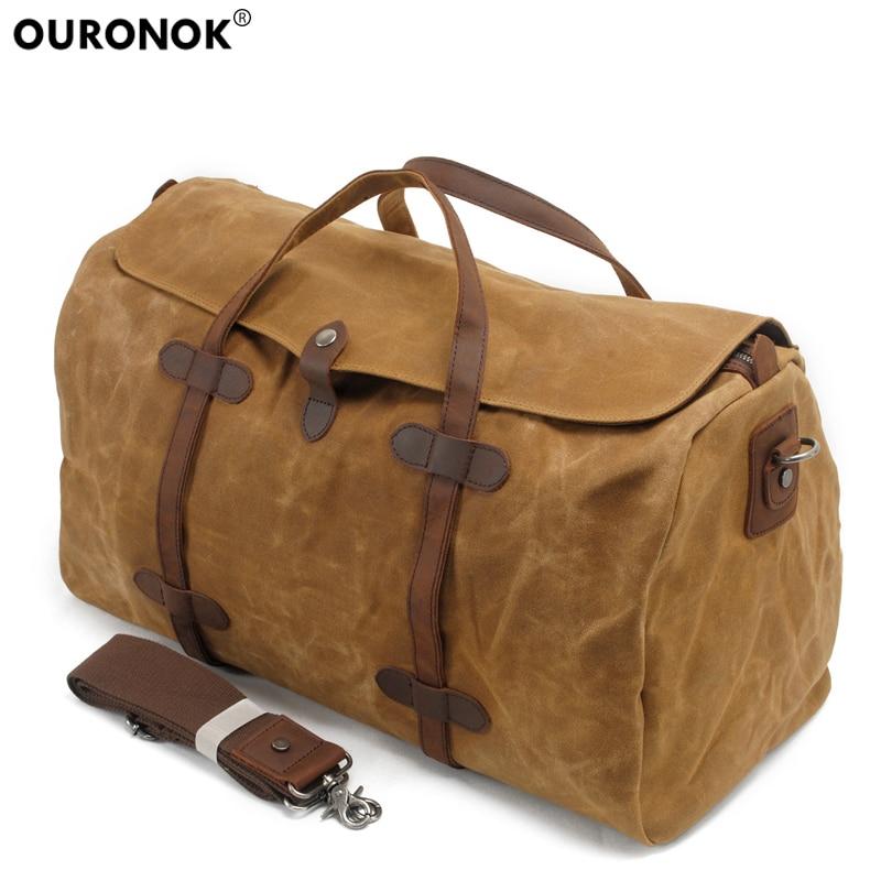 купить OURONOK Men Handbags Canvas Crossbody Bags Shoulder Bags Large Capacity Traveling Large Tote Waterproof Crossbody Messenger Bags по цене 3603.19 рублей