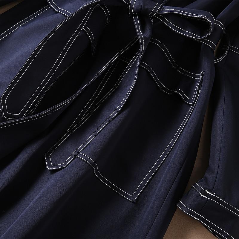 Manteau Turn Mode Denim Ceinture Chaud H8740 Nouveau Trench down Collar Femmes Designer Avec xURwWXt