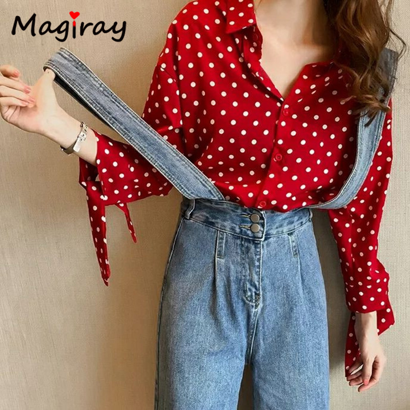 Magiray Harajuku Dot Print Women Chiffon Blouse Knot Bow Tie Korean Female Collared Lady Tops Plus Size Autumn Red Shirt C412 2