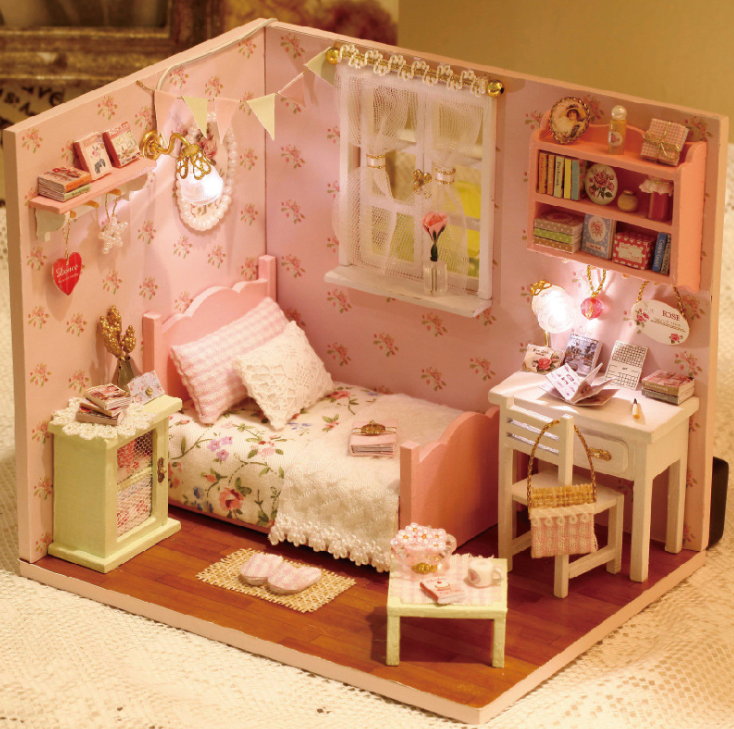 Ins Sunshine Series Doll House Furniture Assemble Kits Toy Diy Miniature 3d Wooden Handmade Miniaturas Dollhouse Toys Gifts
