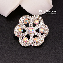 Rhinestone AB Buttons With Loop Used On Coat 22MM 100pcs/lot Silver Color 1pc used ab plc 1771 ibd