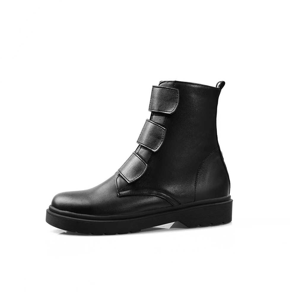 BONJOMARISA 2019 gran oferta botines plateados mujer 2019 otoño tamaño grande 34-43 botines antideslizantes mujer zapatos de piel Mujer 34-43