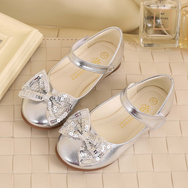 IYEAL Children Princess Shoes With Butterfly New Fashion Girls Sequins Wedding Party Kids Baby Shoes for Girls  School Dance