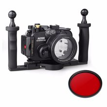 EACHSHOT 40m/130ft Waterproof Underwater Camera Housing Case for A6300 16-50mm Lens + Two Hands Aluminium Tray + 67mm Red Filter