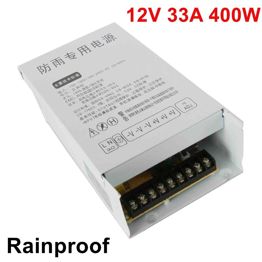 Livraison gratuite 12 v 33A 400 w Alimentation à découpage Pilote étanche à la pluie pour Bande de LED SMPS AC à DC en plein air tension transformateur
