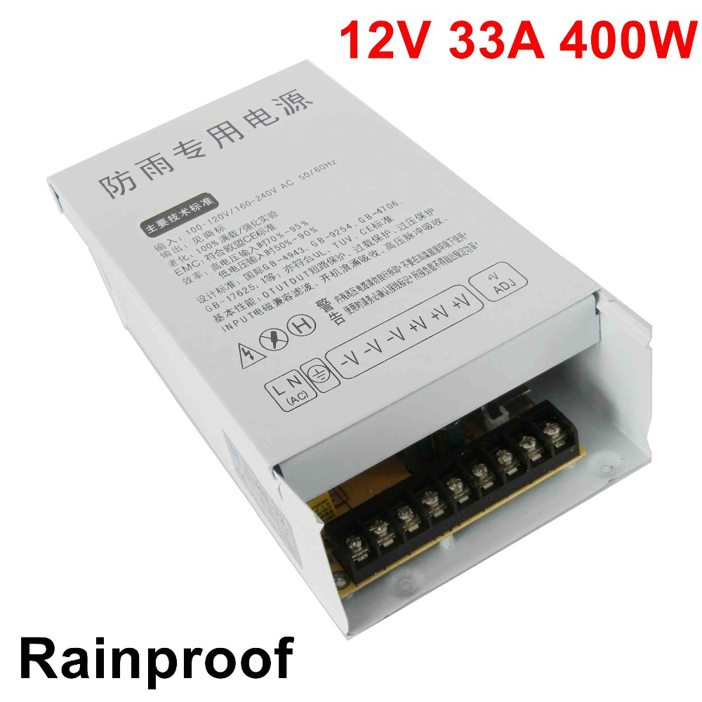 free shipping 12V 33A 400W Switching Power Supply Driver rainproof for LED Strip SMPS AC to DC outdoor voltage transformerfree shipping 12V 33A 400W Switching Power Supply Driver rainproof for LED Strip SMPS AC to DC outdoor voltage transformer