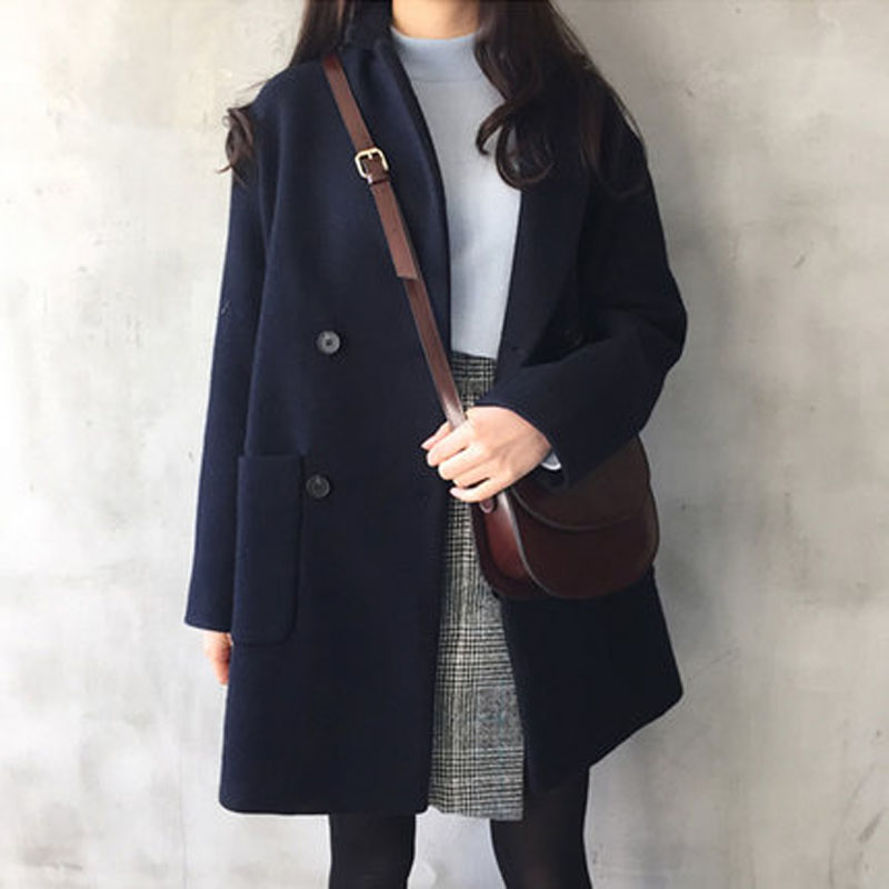2019 Long sleeved casual plain woolen jacket large sized lady 39 s woolen overcoat in Wool amp Blends from Women 39 s Clothing