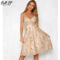 Sexy Off Shoulder Flowers Gold Wire Embroidery Summer Dress 2017 Casual Backless Spaghetti Cami Party Dresses