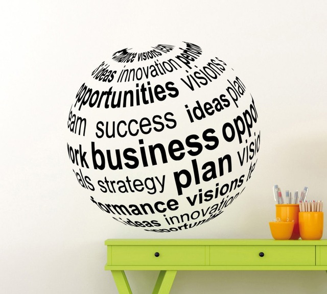 Home art decor 3d views business ball wall sticker vinyl wall mural motivation office art design