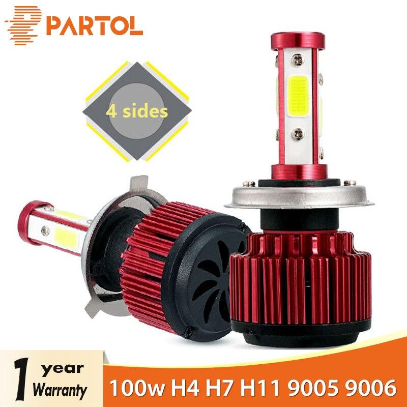 Partol 2 unids/set 100 W H4 plomo bombillas de faros 4 lados LED H7 luz del coche 4 COB Chips de H11 lámparas LED 10000LM 9005/9006/9012/5202