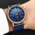 Мужские наручные часы LIGE  повседневные кварцевые часы из нержавеющей стали  наручные часы синего цвета  2019