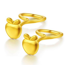 Hot Sale Fashion Lovely 100% 18K Gold Apple Stud Earrings For Women Fine Fruit Jewelry Accessories Christmas Gift Wholesale
