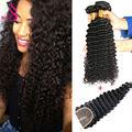 Malaysian Hair With Closure Curly Virgin Deep Wave Bundles With Closure Bundle Hair With Closure Bundle With Closure