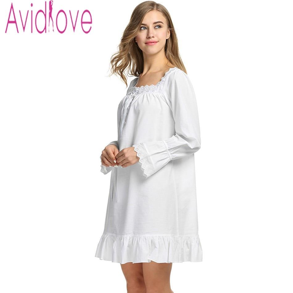 ٩(^‿^)۶Avidlove Women White Sleep Dress Cotton Long Sleeve Nightgown ...