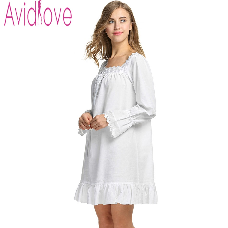 Avidlove Women White Sleep Dress Cotton Long Sleeve Nightgown Sexy Solid Sleepwear Spring Autumn Home Dress Long Robe For Lady