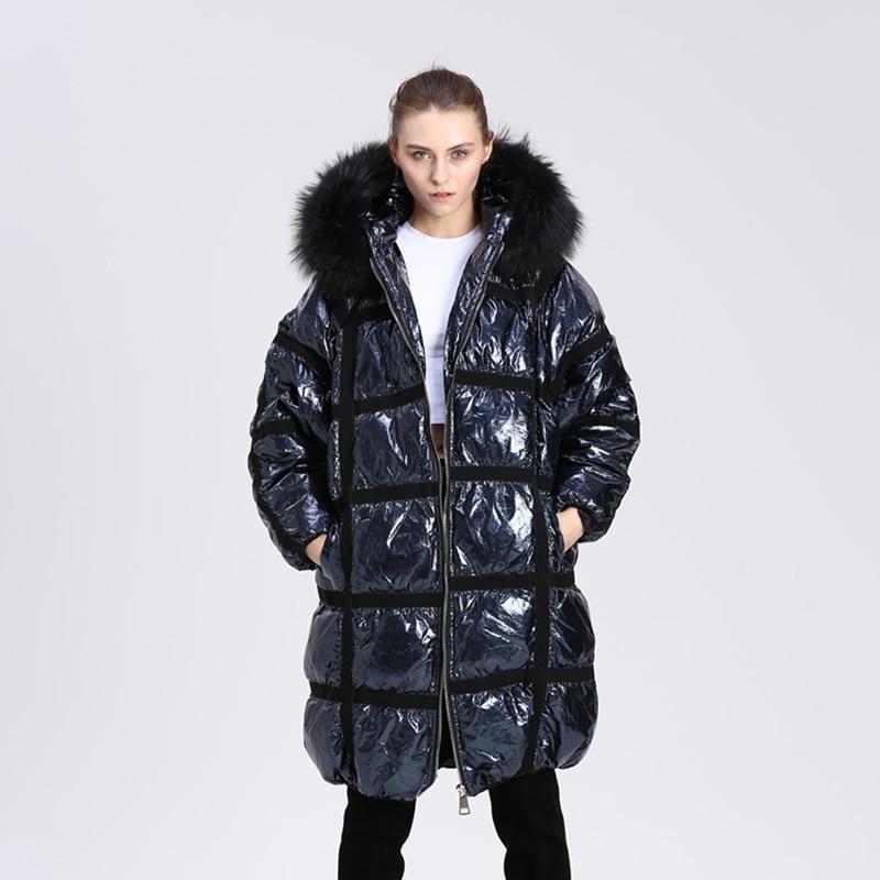 Winter 90% White Duck Down Coat Women Hooded Long Jacket 2019 New Oversized Women's Real Raccoon Fur Collar Silver Down Jacket