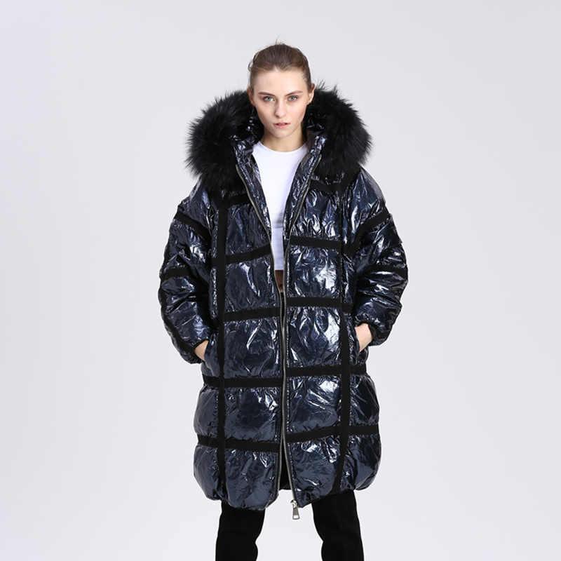 a4156a842 Winter 90% White Duck Down Coat Women Hooded Long Jacket 2019 New Oversized  Women's Real Raccoon Fur Collar Silver Down Jacket