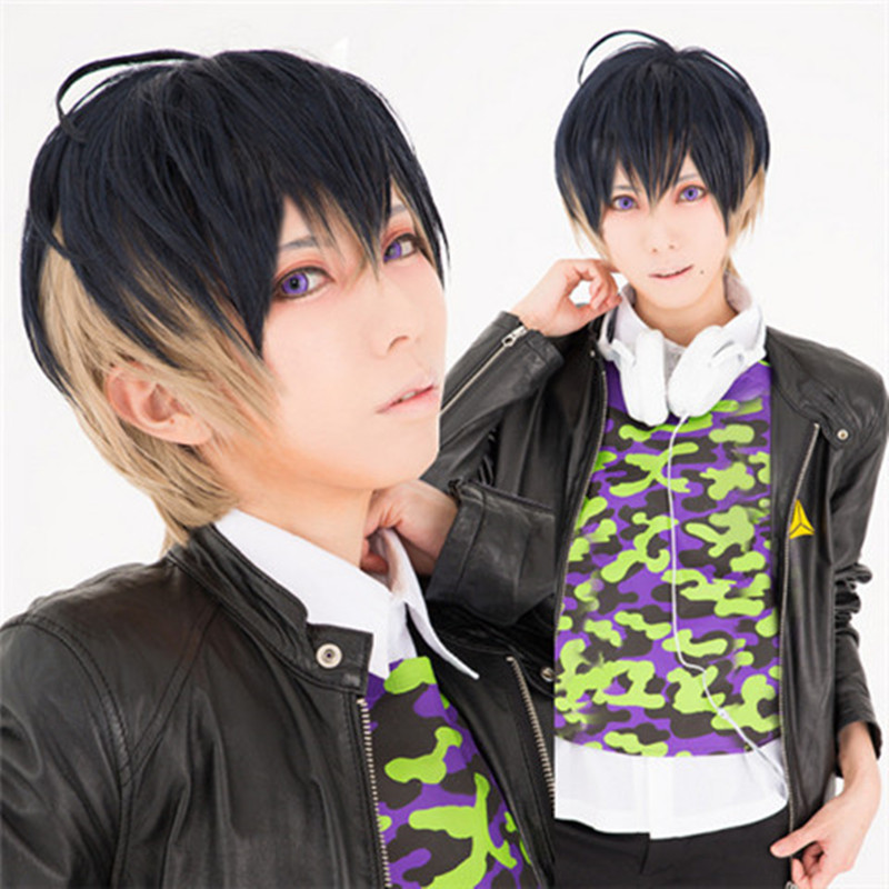New A3 Music Game Usui Masumi Cosplay Wigs Halloween,Party,Stage,Play,Carnival Short Hair Black With Yellow 14-30Y High quality