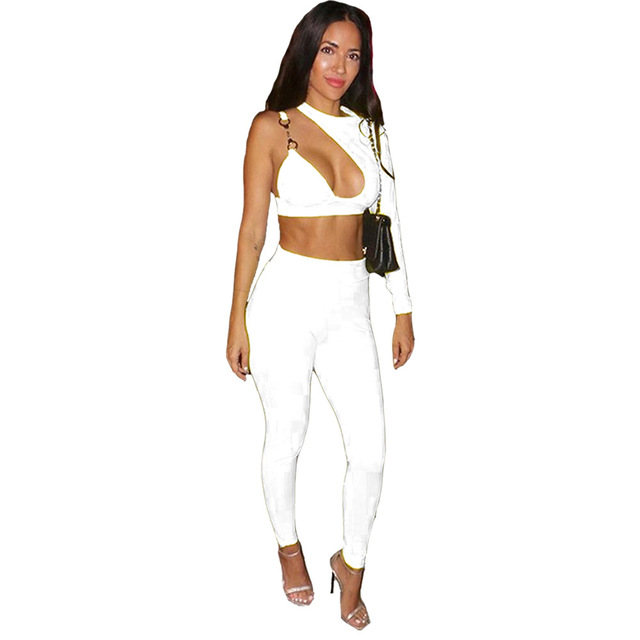 3d66006cac Women Long Sleeve One Shoulder Hollow out Crop Top and Pant Bodycon 2 Piece  Club Outfits Sexy Party White Two Piece Pant Set