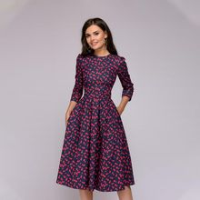 Autumn Printing Dress 2019 Women Elegant A-Line Three Quarter Sleeve Knee-Length Vestidos