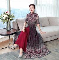 2019 Summer Retro Vietnam Ao dai Chiffon Lace Cheongsam Long dress