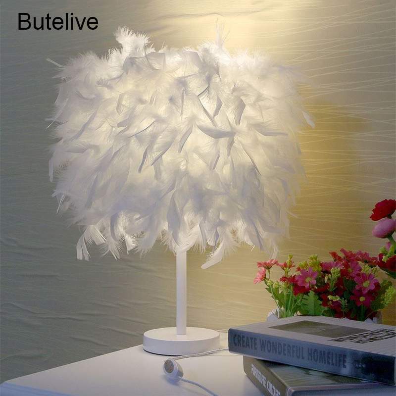 Feather Crystal Table Lamp Light Lamp Desk Led Reading Room Bedside Reading Room Sitting Room Heart Shape Feather Abajur Lights & Lighting Led Table Lamps