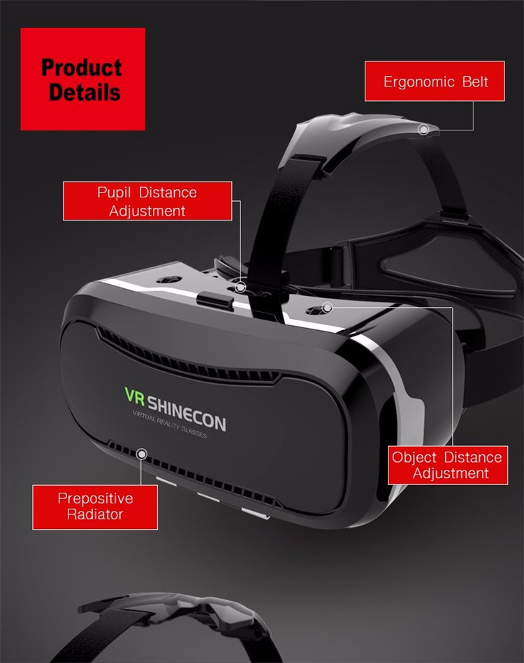 Shinecon 2.0 VR Pro Version Virtual Reality 3D Glasses Headset Google Cardboard BOX 3.0 Movie Game For 4.7-6 inch Phone + Remote 32