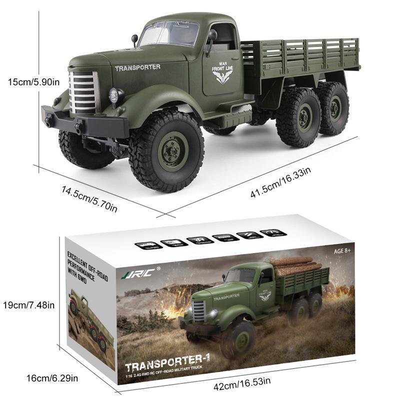 1 16 6 Wheel Drive Remote Control Military Truck 6WD Strong Power Off road RC Car Transporter Army Lorry Model Vehicle Toys in RC Trucks from Toys Hobbies