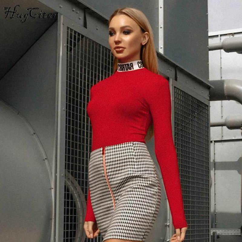 Hugcitar כותנה ארוך שרוול גבוהה צוואר מכתבי הדפסת טלאי בגד גוף 2019 סתיו חורף נשים אופנה גוף